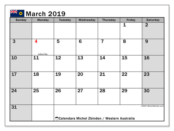 March 2019 Calendar  - Western Australia. Printable calendar: bank holidays.