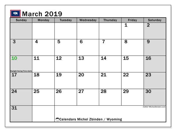 March 2019 Calendar, with the holidays of Wyoming. Free printable calendar with public holidays.