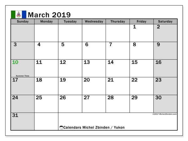 Calendar March 2019, with the holidays of Yukon. Monthly calendar to print free.