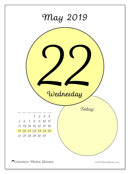 May 2019 Calendar 45 22ss Michel Zbinden En