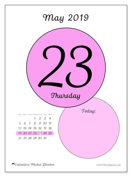 May 2019 Calendar, 45-23SS. Daily calendar to print free.