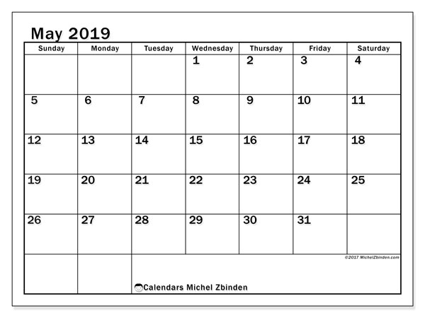 May 2019 Calendar, 50SS. Free calendar to print.
