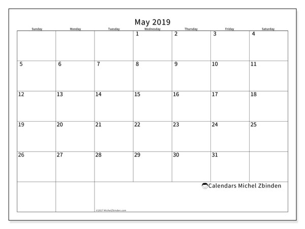 May 2019 Calendar, 53SS. Monthly planner to print free.