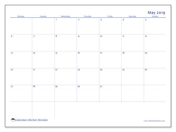 Calendar  May 2019, 55MS