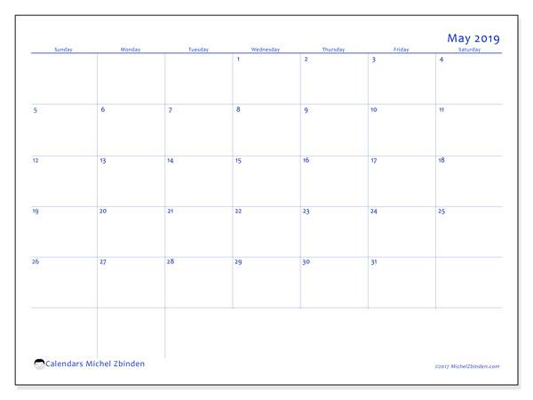 May 2019 Calendar, 55SS. Calendar to print free.