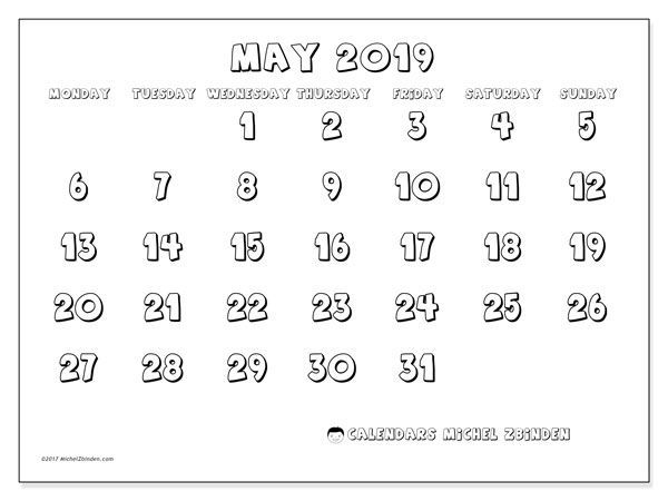 Calendar  May 2019, 56MS