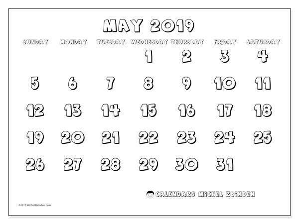 May 2019 Calendar, 56SS. Free printable bullet journal.
