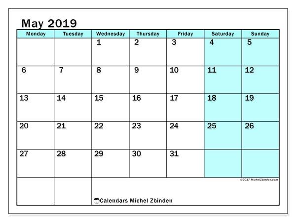 Calendar  May 2019, 59MS