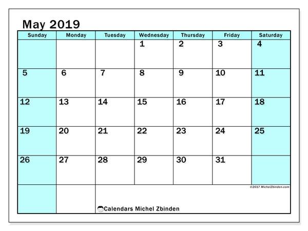 May 2019 Calendar, 59SS. Free printable bullet journal.