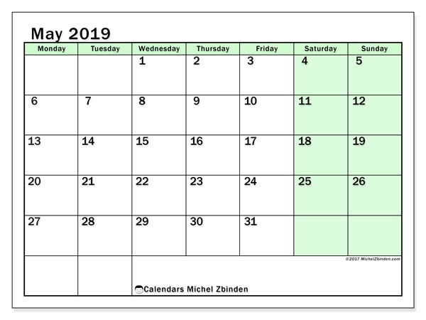 Calendar  May 2019, 60MS
