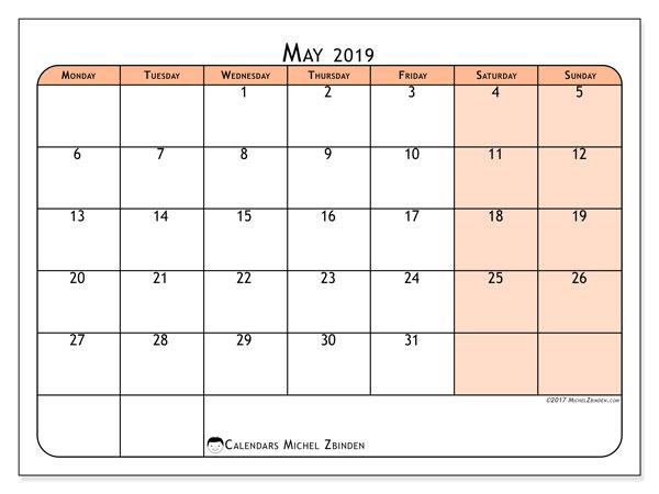 Calendar  May 2019, 61MS