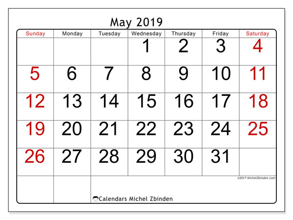 May 2019 Calendar, 62SS. Calendar for the month to print free.