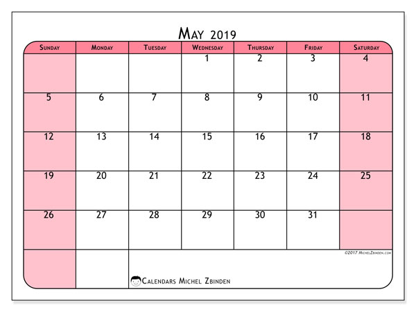 May 2019 Calendar, 64SS. Free bullet journal to print.