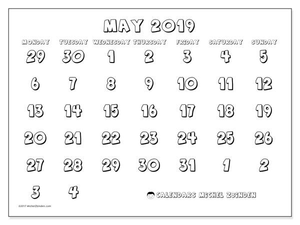Calendar  May 2019, 71MS