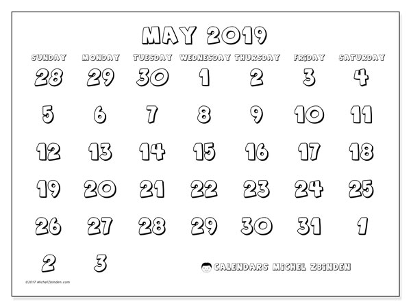 May 2019 Calendar, 71SS. Monthly planner to print free.
