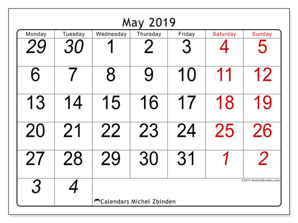 May 2019 Calendar 72ms Michel Zbinden En