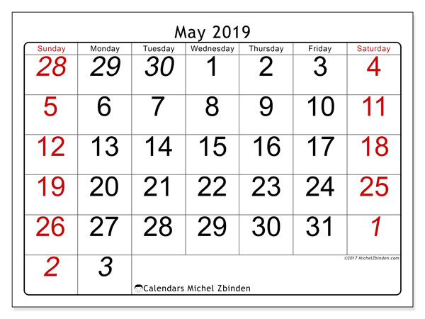 May 2019 Calendar, 72SS. Calendar for the month to print free.