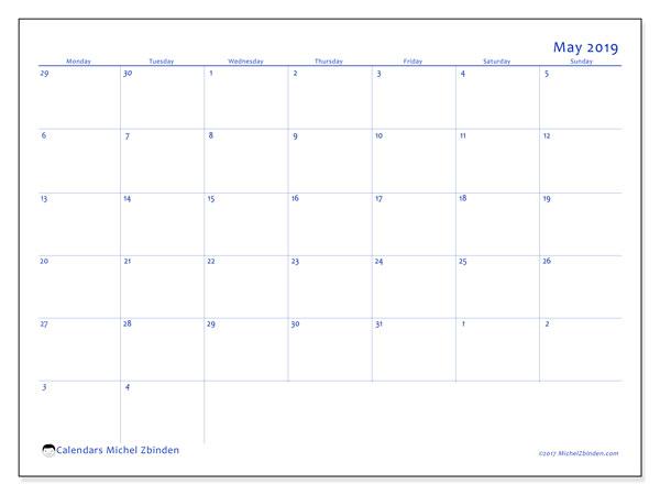 Calendar  May 2019, 73MS
