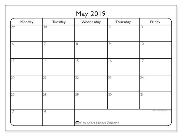 May 2019 Calendar, 74MF. Monthly calendar to print free.