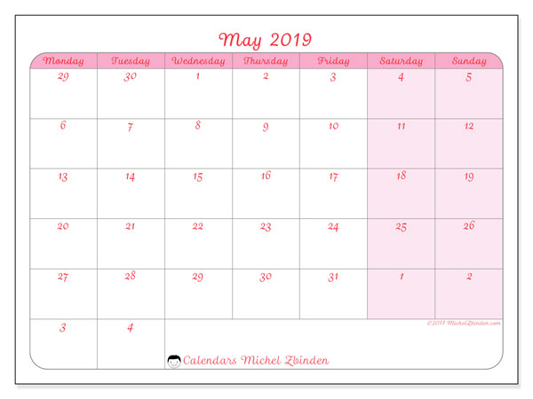 May 2019 Calendar 76ms Michel Zbinden En