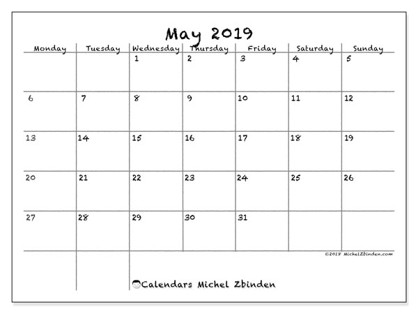 May 2019 Calendar 77ms Michel Zbinden En