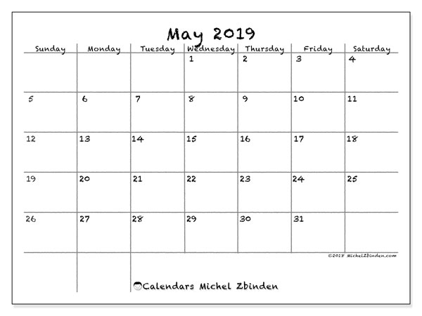 May 2019 Calendar, 77SS. Free printable monthly calendar.