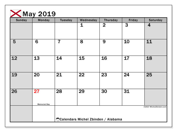 May 2019 Calendar, with the holidays of Alabama. Holidays calendar to print free.