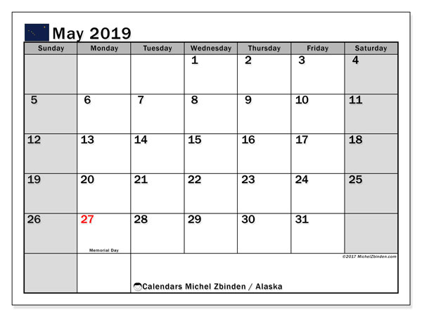 Calendar May 2019, with the holidays of Alaska. Free bullet journal to print.