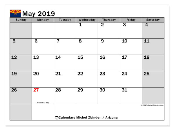May 2019 Calendar, with the holidays of Arizona. Holidays calendar to print free.