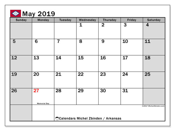 Calendar May 2019, with the holidays of Arkansas. Free bullet journal to print.