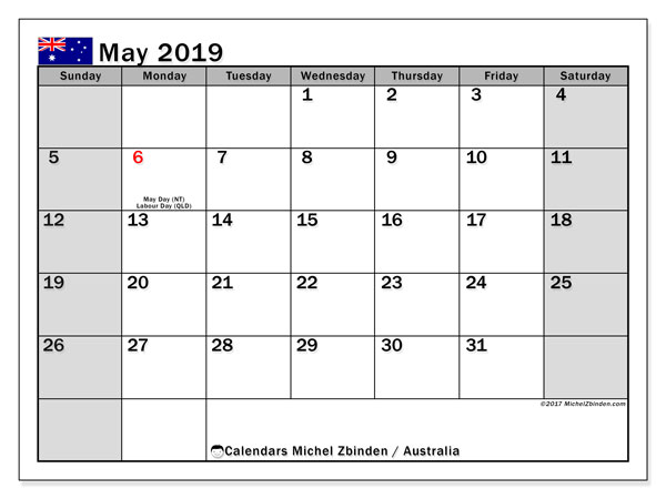 Calendar May 2019, with the holidays of Australia. Bullet journal to print free.