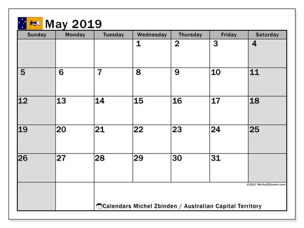 Calendar May 2019, with the holidays of Australian Capital Territory. Free printable planner.