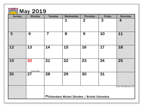 Calendar May 2019, with the holidays of British Columbia. Free printable monthly calendar.