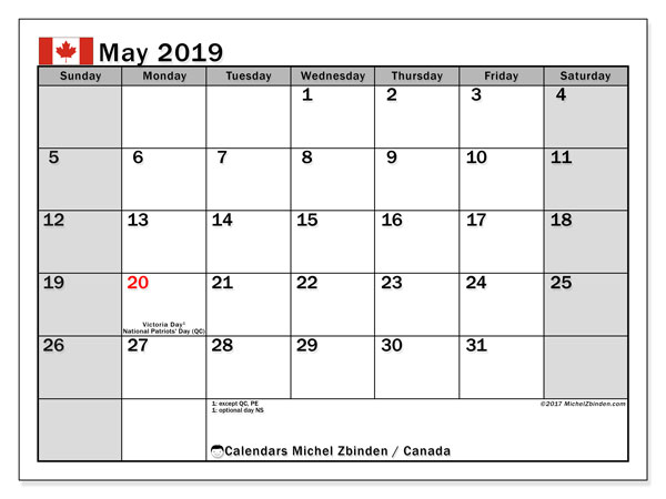 calendar may 2019 with the holidays of canada free printable monthly calendar