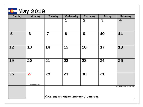 Calendar May 2019, with the holidays of Colorado. Free bullet journal to print.