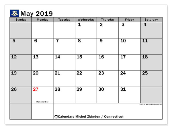 Calendar May 2019, with the holidays of Connecticut. Free bullet journal to print.