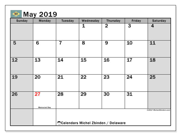 Calendar May 2019, with the holidays of Delaware. Free printable planner.