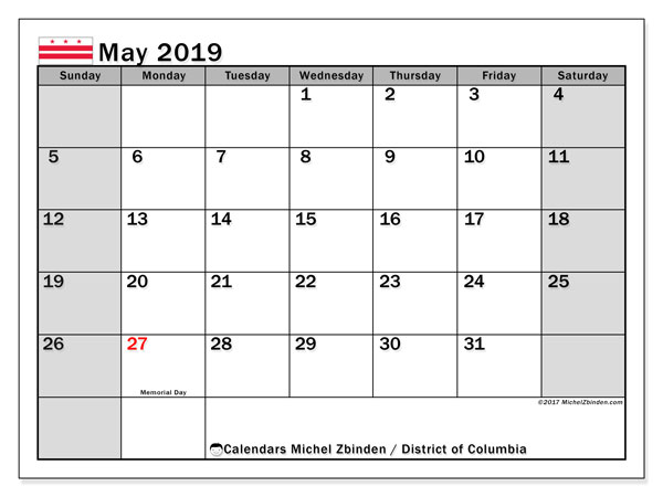 May 2019 Calendar, with the District of Columbia holidays. Free printable calendar with public holidays.