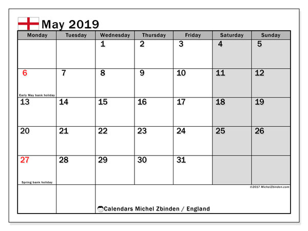 Calendar May 2019, with the holidays of England. Monthly planner to print free.