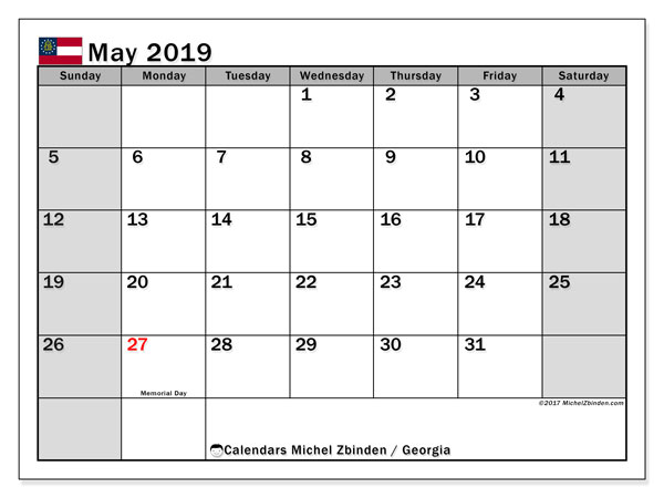 Calendar May 2019, with the holidays of Georgia. Free planner to print.