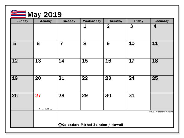 Calendar May 2019 Hawaii Michel Zbinden En