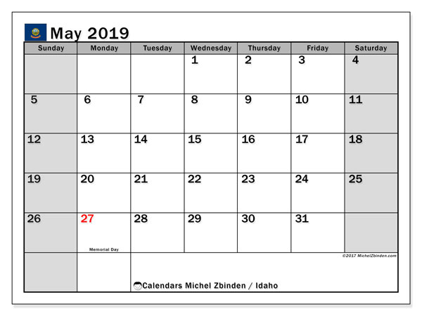 May 2019 Calendar, with the holidays of Idaho. Free printable calendar with public holidays.