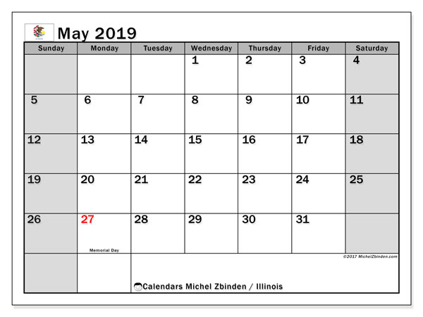 May 2019 Calendar, with the holidays of Illinois. Holidays calendar to print free.