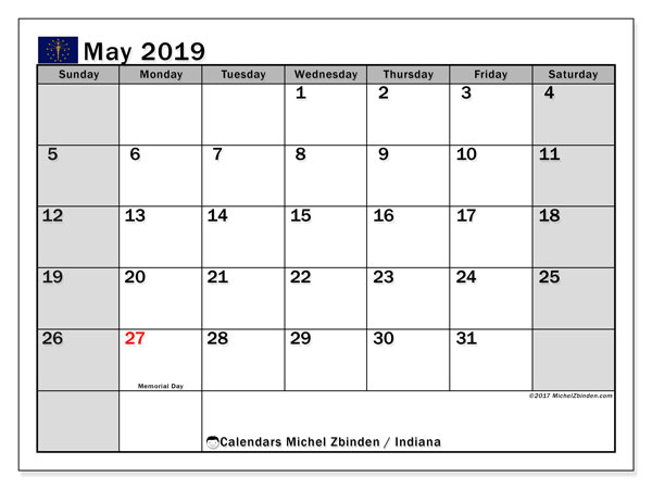 May 2019 Calendar, with the holidays of Indiana. Holidays calendar to print free.