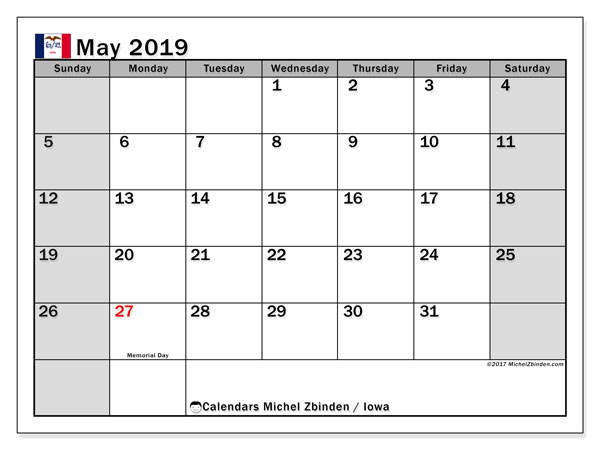 May 2019 Calendar, with the holidays of Iowa. Free printable calendar with public holidays.