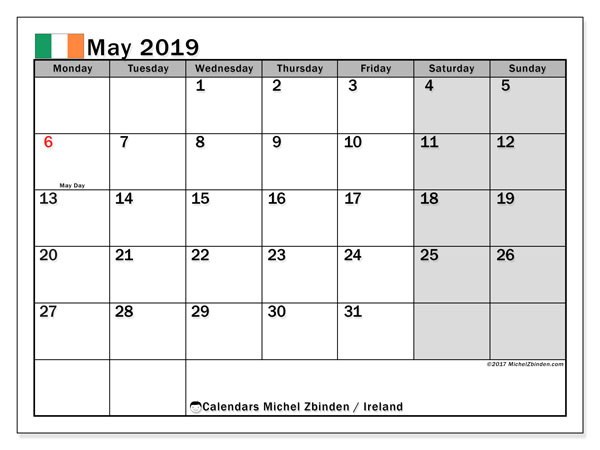 Calendar May 2019, with the holidays of Ireland. Monthly planner to print free.