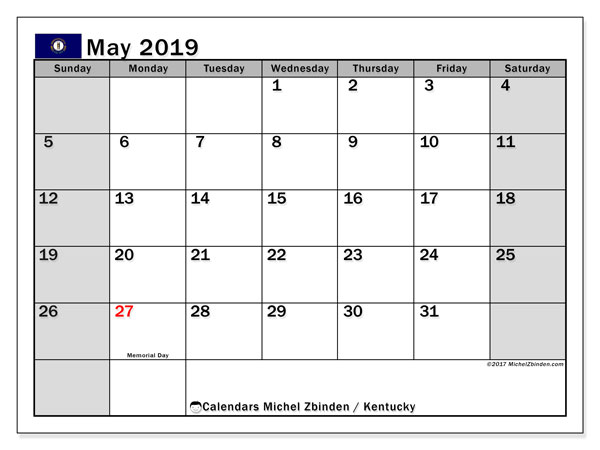 Calendar May 2019, with the holidays of Kentucky. Bullet journal to print free.