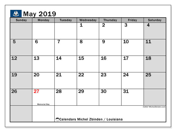 Calendar May 2019, with the holidays of Louisiana. Bullet journal to print free.