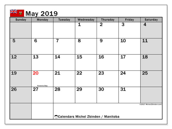 Calendar May 2019, with the holidays of Manitoba. Monthly calendar to print free.