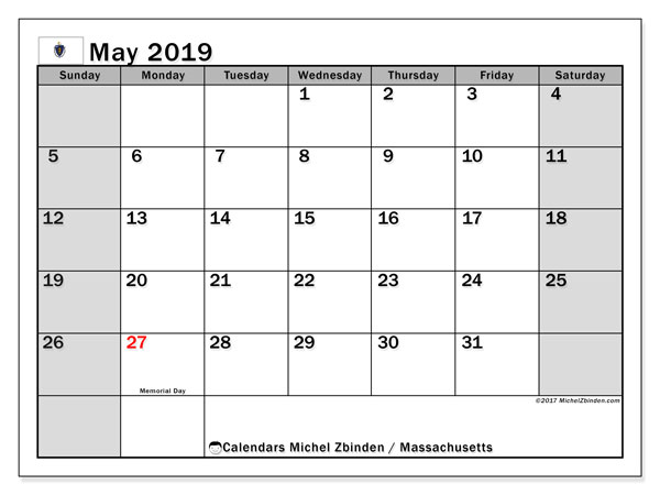 Calendar May 2019, with the holidays of Massachusetts. Free calendar to print.